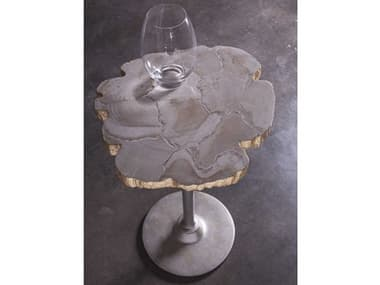 Artistica Home Gregory Fossilized White Clam Shell with Antique Iron 20'' Wide Pedestal Table ATS2030950
