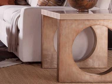 Artistica Home Impresario Silver Travertine Stone with Silver Leaf 26'' Wide Square Table Shape ATS2060957