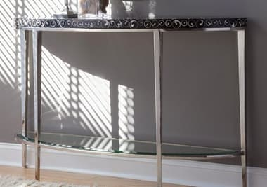 Artistica Mariana Black / Polished 54'' Wide Demilune Console Table ATS2047967