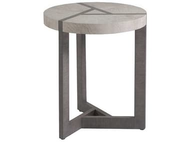 Artistica Home Mercury Bleached Olive Ash Burl with Oak 20'' Wide Round Spot End Table ATS2025950