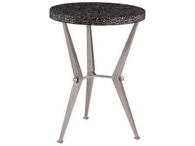 Artistica Mindoro Black / Warm Silver Antiqued 16'' Wide Round End Table ATS2049950
