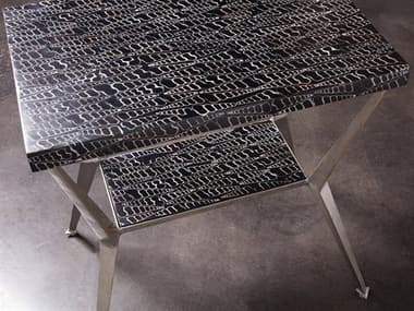 Artistica Mindoro Black / Warm Silver Antiqued 21'' Wide Rectangular End Table ATS2049952