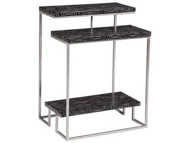 Artistica Mindoro Black / Warm Silver Antiqued 18'' Wide Rectangular End Table ATS2049954