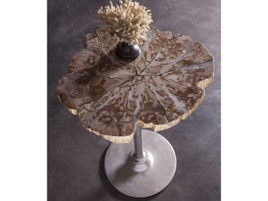 Artistica Home Peck Petrified Wood & Gold Leaf with Antique Iron 20''L x 17''W Pedestal Table ATS2035952