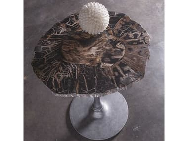 Artistica Home Peck Petrified Wood & Gold Leaf with Antique Iron 20'' Wide Round Pedestal Table ATS2035954