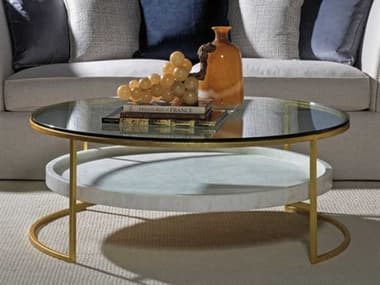 Artistica Signature Designs Gold Foil / Fossilized White Crystal Stone 50'' Wide Round Coffee Table ATS012024941C