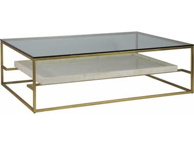 Artistica Signature Designs Gold Foil / Fossilized White Crystal Stone 60'' Wide Rectangular Coffee Table ATS012024949C