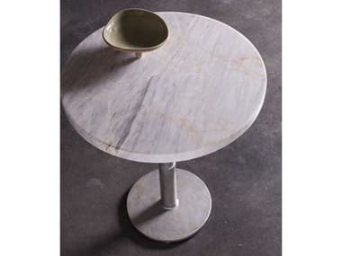 Artistica Home Spire Century Marble with Antique Iron 18'' Wide Round Pedestal Table ATS2032950