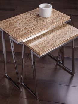 Artistica Thatch Brown / Silver 25'' Wide Rectangular End Table Nesting ATS2126958