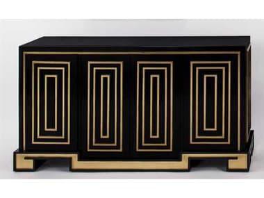 Artmax 63.5 x 34 Gold Leaf & Black Lacquer Credenza Cabinet AMX4440S