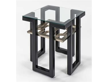 Artmax Black / Old World Gold Silver 25'' Wide Square End Table AMX2919ET
