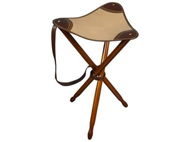 Authentic Models Honey / Khaki Canvas And Leather Accent Stool A2MF152