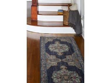 Bashian Rugs Heritage Dark Blue 2'6'' x 8' Runner Rug BSHH114DKBLZ040ARUN