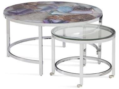 Bassett Mirror Andalusia Purple Stone 34'' Wide Round Coffee Table BA7212LR120