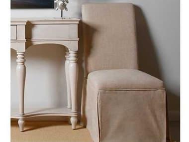 Bassett Mirror Belgian Modern White Skirted Natural Parsons Side Chair BADPCH8739EC