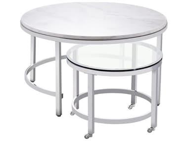 Bassett Mirror Jadyn Polished Chrome 34'' Wide Round Coffee Table Nesting BA3259LR121EC