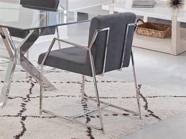 Bassett Mirror Polygon Stainless Steel / Dark Gray Arm Dining Chair BA5470DR810