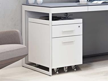 BDI Centro 16''W x 21''D Satin White & Gray Etched Glass Two-Drawer Mobile File Pedestal BDI6407SWGRY