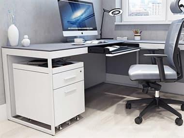 BDI Centro 66.25''W x 26''D Rectangular Satin White & Gray Etched Glass Desk BDI6401SWGRY
