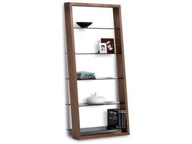 BDI Eileen 34''W x 74''H Natural Walnut Leaning Shelf Bookcase BDI5156WL