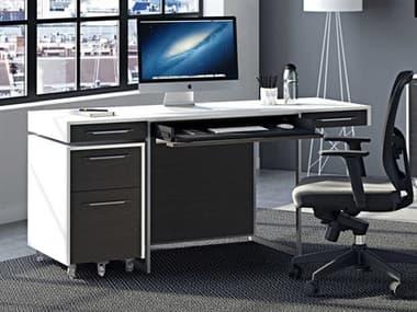 BDI Format 64''W x 24''D Rectangular Satin White & Charcoal Computer Desk BDI6301SWCRL