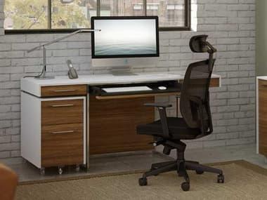 BDI Format 64'' x 24'' Rectangular Satin White & Natural Walnut Three Drawer Computer Desk BDI6301SWWL