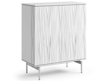 BDI Tanami Satin White / Polished Chrome Bar Cabinet BDI7120SW