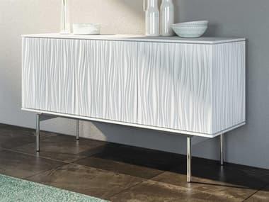 BDI Tanami Smooth Satin White / Polished Chrome TV Stand BDI7107SW