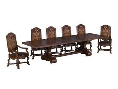 Benetti's Italia Furniture Majorica Woodtop Dining Set BFMAJORICAWOODTOPDININGSET