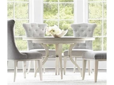 Bernhardt Allure Manor White / Silver Luster Mist 54''-72'' Wide Round / Oval Dining Table with Extension BHK1299