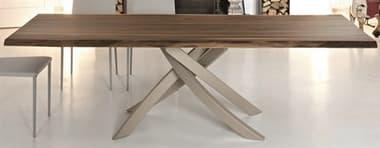 Bontempi Artistico Live Edge Solid Walnut / Sand 98'' Wide Rectangular Dining Table BON2002M312L006