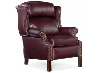 Bradington Young Chippendale Burgundy / Mahogany Pushback Recliner Wing Chair BRDBYX411498000869MHFN