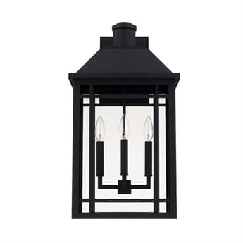 Capital Lighting Braden Black Three-Lights 13'' Wide Outdoor Wall Lantern C2927131BK