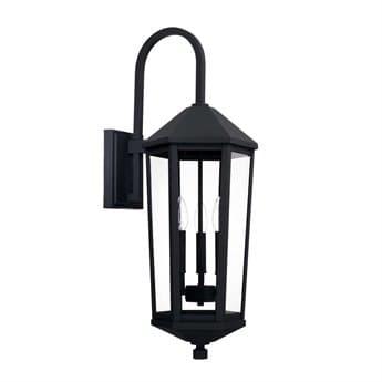 Capital Lighting Ellsworth Black Three-Lights 10'' Wide Outdoor Wall Lantern C2926931BK