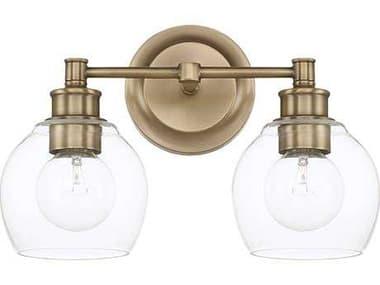 Capital Lighting Mid Century Aged Brass Two-Light Vanity Light C2121121AD426