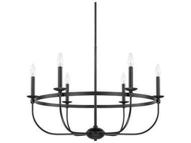Capital Lighting Rylann Matte Black Six-Lights 30'' Wide Chandelier C2425161MB