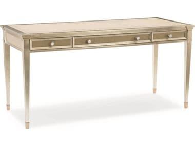 Caracole Classic Smoke with Taupe Silver Leaf / Platinum 62''W x 26''D Rectangular Secretary Desk CACCLA417451