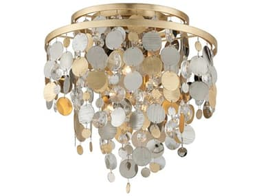 Corbett Lighting Ambrosia Gold and Silver Leaf Three-Light 18'' Wide Flush Mount CT21533