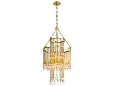 Corbett Lighting Kiara Gold Leaf Eight-Light 23'' Wide Glass Mini Chandelier CT28608