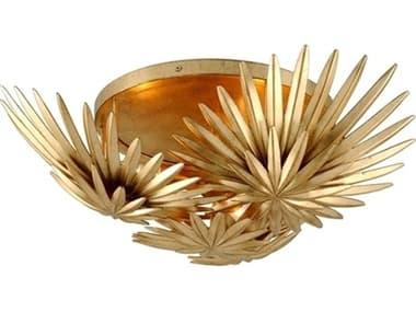 Corbett Lighting Savvy Vintage Gold Leaf Three-Light 22'' Wide Semi-Flush Mount CT30933