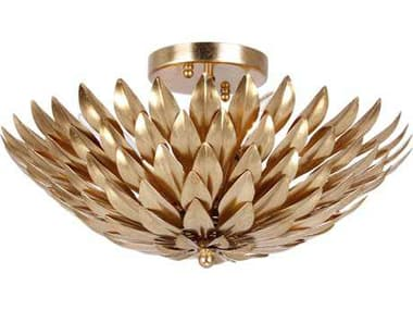 Crystorama Broche Antique Gold Four-Light Semi-Flush Mount Light CRY505GA