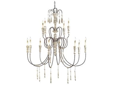 Currey & Company Hannah White Rust 12-Light 53'' Wide Grand Chandelier CY9117