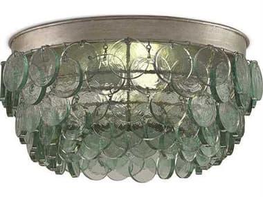 Currey & Company Braithwell Silver Leaf Two-Light 16'' Wide Flush Mount Light CY99990013