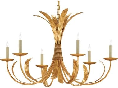 Currey and Company Bunny Williams Grecian Gold Leaf Six-Light 33'' Wide Bette Chandelier CY90000186