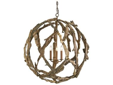 Currey & Company Driftwood Orb Natural Three-Light 29'' Wide Chandelier CY9078