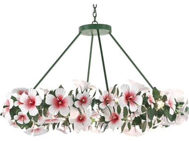 Currey & Company Hibiscus Glossy White / Pink / Green 24-light 53'' Wide Large Chandelier CY90000660