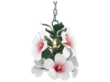 Currey & Company Hibiscus Glossy White / Pink / Green 3-light 10'' Wide Mini Chandelier CY90000657