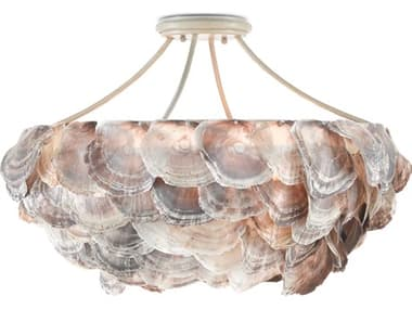 Currey & Company Seahouse Smokewood / Natural Shell 6-light 22'' Wide Convertible Semi-Flush Mount / Chandelier CY90000755
