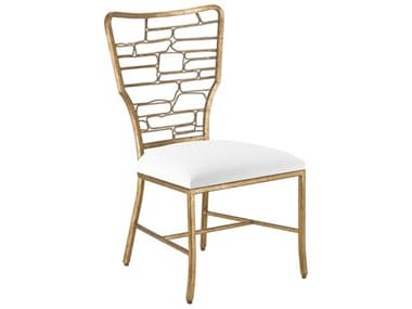 Currey & Company Vinton Guilt Bronze Muslin Side Dining Chair CY70000951