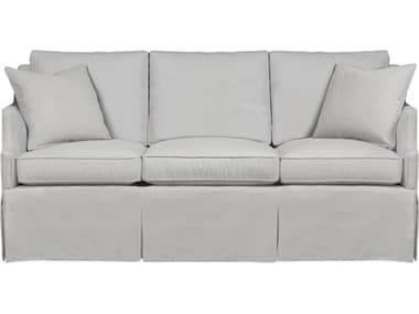 Duralee Warrington Boxed Back Sofa with Waterfall Skirt & Two Throw Pillows DRL1074084